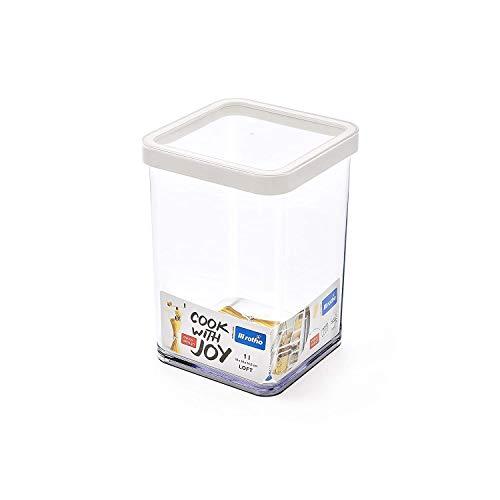 Rotho Loft Boîte de Rangement Carrée de 1L avec Couvercle et Scellé, Plastique (PP) sans BPA, Blanc/Transparent, 1L (10,0 x 10,0 x 14,2 cm)