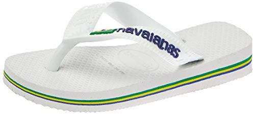 Havaianas Brasil Logo, Tongs Mixte Adulte, Blanc, 23/24 EU