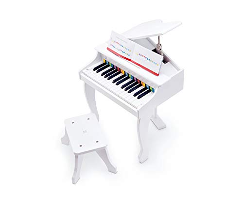 Hape- Deluxe Grand Piano-White-Age 3 Years + Giochi in Legno, Multicolore, E0338