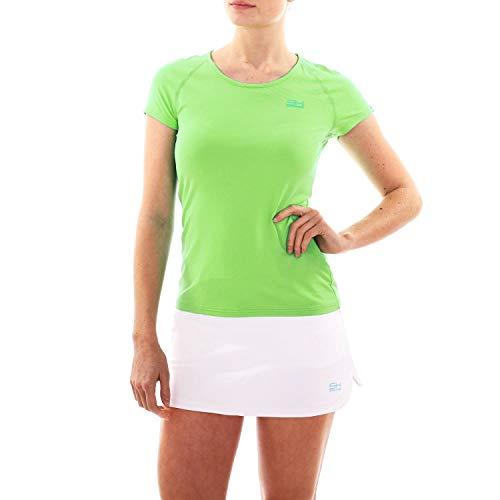 Sportkind T-shirt de tennis, fitness, sport, col rond, protection UV UPF 50+, respirant, manches courtes - Vert - XXL