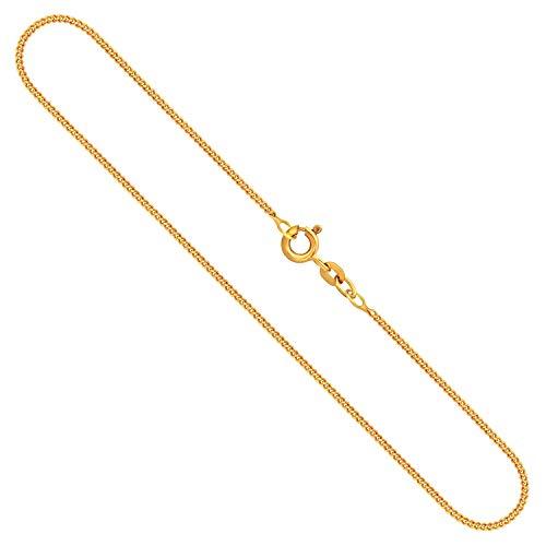 Goldkette Herren Echtgold 1,4 mm, Panzerkette flach 333 aus Gelbgold, Kette Gold mit Stempel, Halskette mit Federringverschluss, Länge 70 cm, Gewicht ca. 3,9 g, Made in Germany