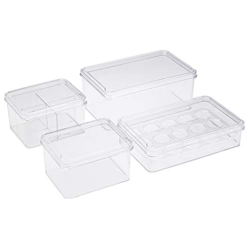 AmazonBasics - Recipientes de almacenamiento de plástico para cocina, juego de 4
