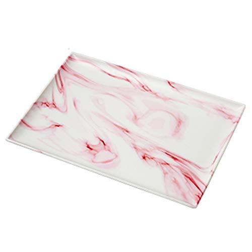 Lade Huishoudelijke Rechthoek, Thee Lade Water Cup Plaat Kunststof, Woonkamer Marmeren Patroon Creatieve Lade S roze