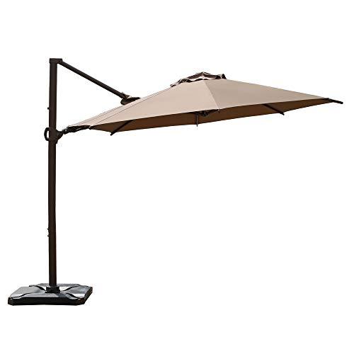 Abba Patio 11.5ft Patio Offset Hanging Umbrella 360°Rotating Outdoor Cantilever Umbrella with Crank & Base Weight for Garden, Deck, Backyard, Pool, Beige