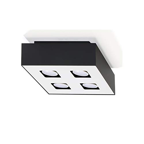 Plafonnier LED Mono 4x7W Plafonnier Extérieur Noir, Intérieur Blanc 24x24cm Lampe de Salon Lampe Moderne Eclairage Intérieur Lampe + Ampoule LED 2700K 556lm