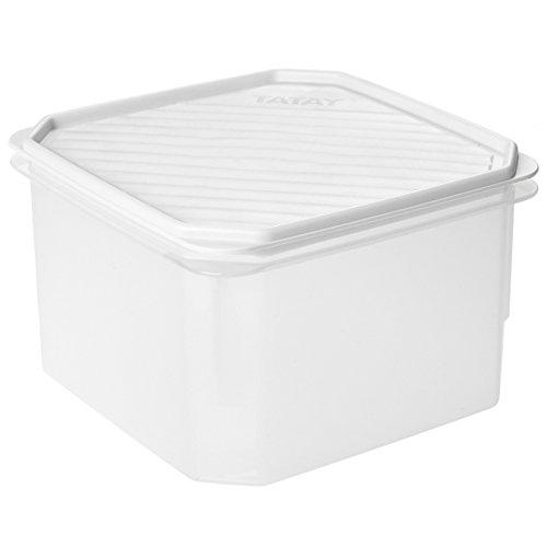 TATAY 1161201 - Contenedor de alimentos hermético cuadrado con tapa flexible a presión blanca, libre de BpA, 2,9 litros de capacidad, 18,5 x 18,5 x 12,2