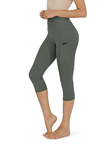 ODODOS Women's High Waisted Yoga Capris with Pockets,Tummy Control Non See Through Workout Sports Running Capri Leggings, Plus Size, Gray,XX-Large