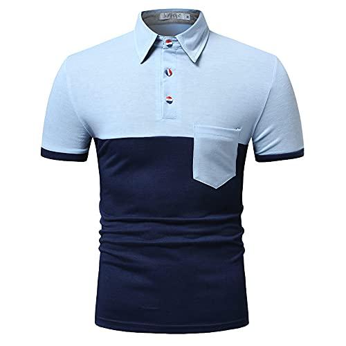 Polo Hombres Básico Transpirable Botón Placket Hombres T-Shirt Empalme Verano Bolsillos Contraste De Color Hombres Shirt Diseño Moda Hombres Shirt Ocio C-Navy XXL