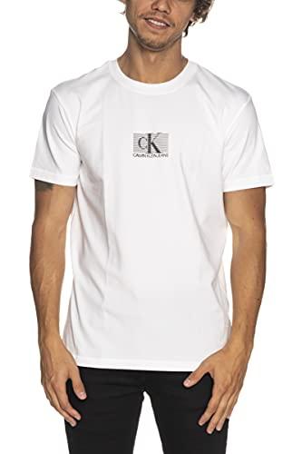 Calvin Klein - męskie koszulki - ubrania męskie - T-shirt - T-shirt z grafiką - czarny T-shirt - męski mały T-shirt w pudełku w paski, Jasnobiały, M