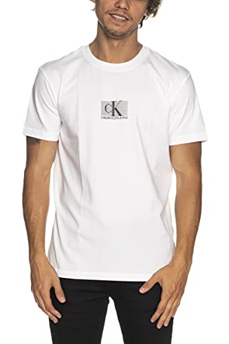 Calvin Klein Jeans Small CK Box Stripe Tee T-Shirt, Bianco Brillante, L Uomo