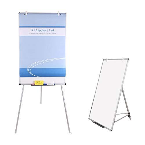 VIZ-PRO Whiteboard/Flipchart-Staffelei, magnetisch, höhenverstellbar, trocken abwischbar, 2er Pack 90 x 60 cm