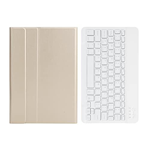 SONK Estuche para Teclado para Samsung Galaxy Tab A7 T500 / T505, Cubierta de Soporte Liviana de Carcasa Delgada Colores de Teclado fríos y Variables Teclado inalámbrico Bluetooth(Oro)