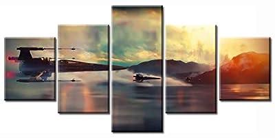 DJSYLIFE Modern Art Printed in Star Wars Movie Poster 5 Panel Canvas Art Wall Frame Paintings Living room40x50x2+40x70x2+40x100x1= (cm)^^^with Framework by junhongli