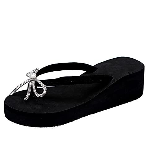 Beudylihy Sandalias de verano para mujer, sandalias con plantilla para los pies, cordones, cuña, nudos, chanclas planas, zapatos de playa abiertos, Negro , 36 EU