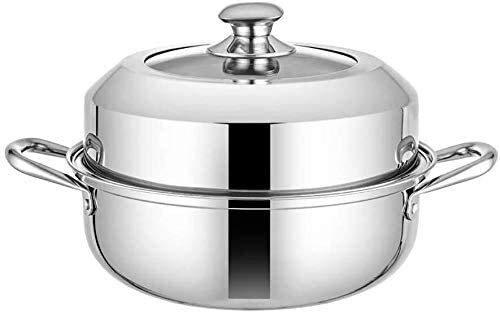 ZWH Cuiseur à Vapeur 2 Tier Steamer Pan avec Couvercle for Cuisson À Vapeur en Acier Inoxydable Pot Plaque À Induction Pot Gaz Universal Stock 28cm (Color : B)