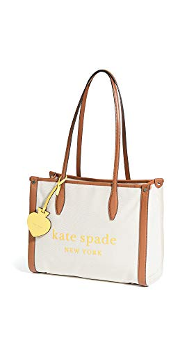 Kate Spade New York Women's Medium Market Tote, Natural, Off White, Tan, Graphic, One Size