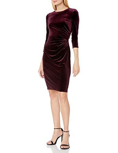 Eliza J Women's Long Sleeve Velvet Sheath with Side Ruching Casual Dress, Maroon, 12