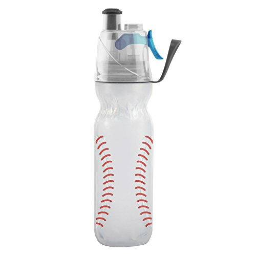 O2COOL Mist 'N Sip Water Bottle Insulated Squeeze Bottle-20 oz, 20 Ounce, Baseball