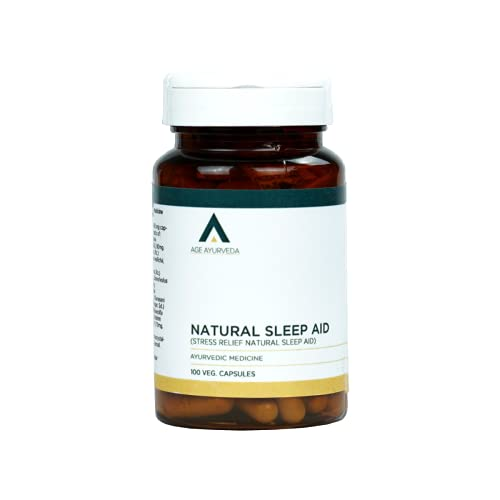 Age Ayurveda Natural Sleep Aid , promotes natural sleep , relaxes and relieved stress , improves focus , 100 veg capsules