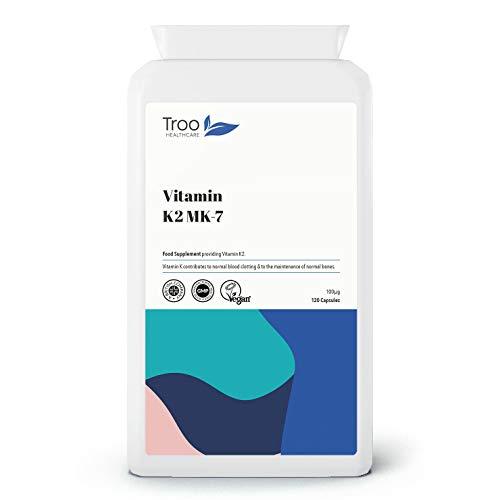 Troo Vitamin K2 MK-7 100mcg 120 Capsules - Highly Bioactive Vegan Society Registered Vitamin K Bone Support Supplement Using MK7 - UK Manufactured to GMP Standard