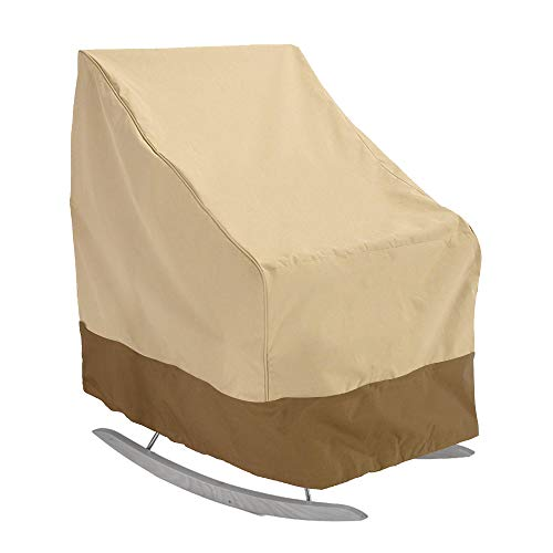 Maalr Funda para silla mecedora de terraza, impermeable, tejido Oxford resistente, funda para silla de jardín reclinable para balcón funda para muebles de exterior (Beige 420D)
