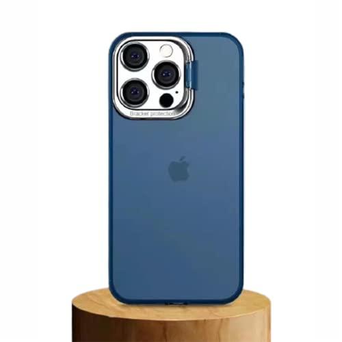 LJFLI iPhone 13 Pro MAX Fundas Carcasa de Telefono Soporte para teléfono con cámara de Metal Funda Protectora de Borde Suave de PC Helado,Blue,iPhone13