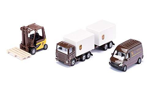 SIKU 6324, UPS Logistik Set, Metall/Kunststoff, Braun/Weiß, Viele Funktionen, Kombinierbar mit SIKU Modellen im gleichen Maßstab