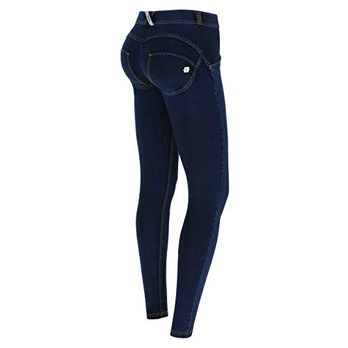 FREDDY Pantalone WR.UP Skinny Vita e Lunghezza Regular in Denim Scuro - Jeans Scuro-Cuciture Gialle - Small