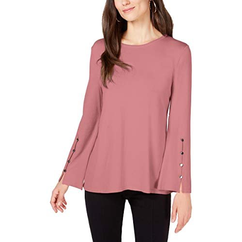 Alfani Womens Ribbed Trim Crew Neck Pullover Top Pink XL