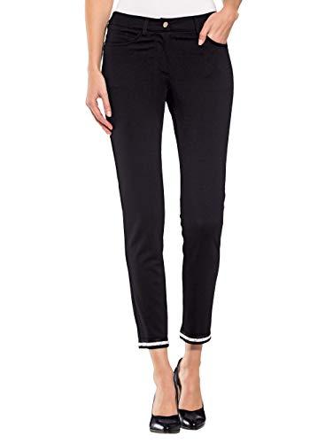 Alba Moda Damen Röhrenform Lange Hose in Schwarz mit Dekoband und Ziersteinchen am Saum
