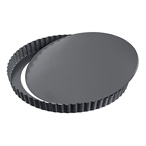 Kaiser La Forme Plus Tarteform mit Hebeboden 24 cm, Quicheform antihaftbeschichtet, herausdrückbarer Emailleboden, schnittfest, servierfertig