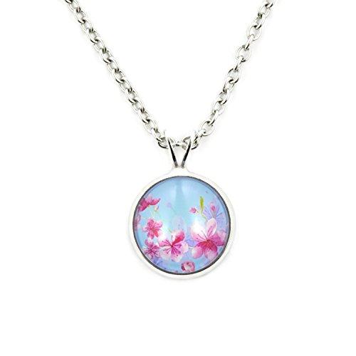 SCHMUCKZUCKER Damen Mädchen Halskette mit Anhänger Motiv Sommer Blüten Blumen kurz mit kleinem Anhänger - hellblau
