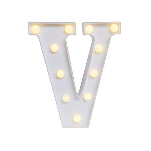 Marquesina de metal blanco Letra luz LED Nombre inicial Señal Letra Lámpara Se enciende Letras del alfabeto para la boda Fiesta de cumpleaños Navidad Inicio Bar Decoración