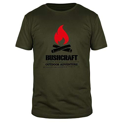 FABTEE - Bushcraft Outdoor Adventure Lagerfeuer   Plus Gratis Aufkleber   Herren Shirt Größen S-3XL, Größe:L, Farbe:Oliv