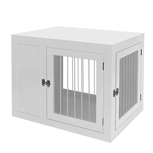 LINLUX Wire Dog Crate Kennel Cage with Double Lockable Doors, Decorative Medium Large Pet Crate End Table, Wood Furniture Dog Cave House, Indoor, Chew-Proof (White)