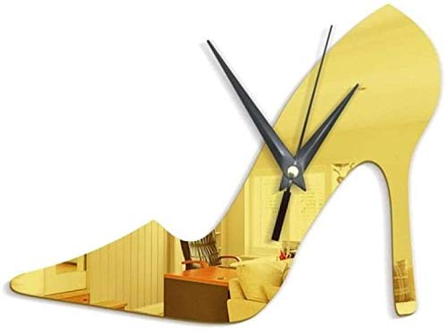 ZYZYY Sala de estar reloj de pared 3D Diy reloj tridimensional dormitorio reloj de pared tacones altos mujeres plata espejo reloj de pared