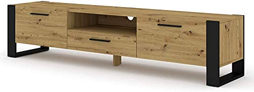 Gabinete de TV, Soporte de TV de sala de estar, Soporte de TV moderno,Wood Color