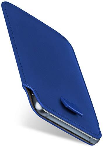 moex Slide Hülle für Acer Liquid Zest Plus - Hülle zum Reinstecken, Etui Handytasche mit Ausziehhilfe, dünne Handyhülle aus edlem PU Leder - Blau