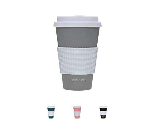 bellendo® Kaffeebecher to go Bambus 400ml - Coffee to go Becher Bamboo für Kaffee & Tee - to go Becher mit Deckel, Griff & Auslaufschutz, grau