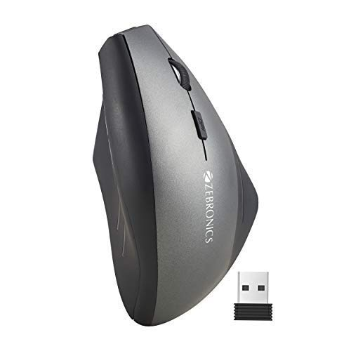 (Renewed) Zebronics Zeb-Shooter Wireless Vertical Mouse with 6 Buttons, 1600DPi and 2.4GHz Wireless Nano Receiver (Black)