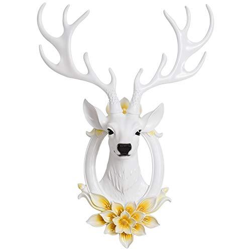 Decoración de pared Suerte Wall Deer cabeza colgando de pared creativo colgante tridimensional del fondo de la sala Porche decoración de la pared principal pendiente animal Artesanía de escultura