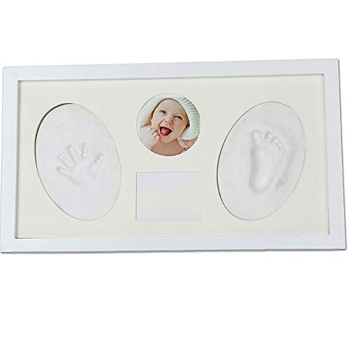 Kit cadre photo empreinte de main et empreinte béb Immortaliser vos souvenirs bébé main et cadre photo Empreinte Kit Tout-petits cadeaux d'anniversaire prime d'argile et cadres en bois avec 4 Pack de