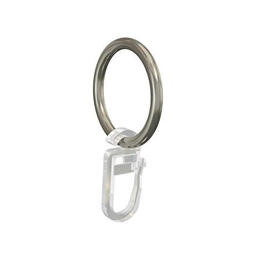 Flairdeco Gardinenringe/Ringe mit Faltenhaken, Metall, Chrom matt, 32/25 mm, 24 Stück