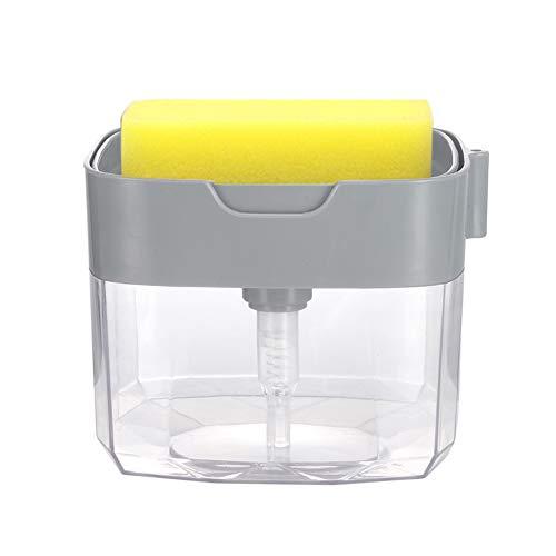 LFONCE Dispensador de jabón, dispensador de esponja para fregadero de cocina, dispensador de lavavajillas 2 en 1 con esponja + 2 colectores de pelo de drenaje instantáneo de repuesto de 13 onzas (B)