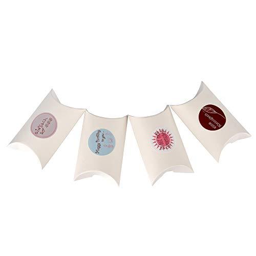 ewtshop® 24 kleine geschenkdozen kussens in beige, natuurwit, 24 stickers, geschenkdozen, bonbonbondoosjes, adventskalender