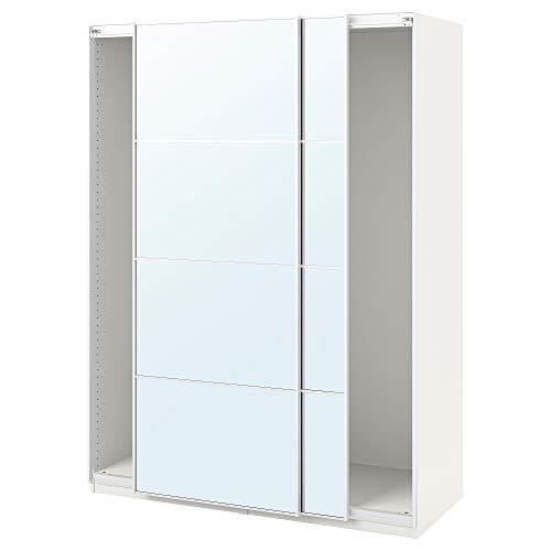 PAX armadio con ante scorrevoli 150x43.5x80 cm bianco/Auli specchio vetro