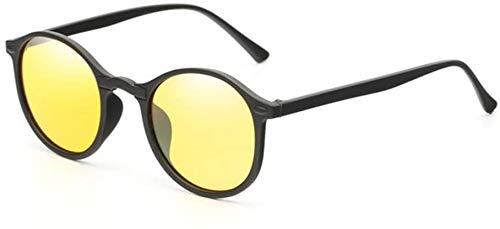 Visión nocturna Gafas Visión nocturna Gafas de sol Hombres y mujeres Gafas Generales Gafas clásicas Redondo Conductor Noche de conducción,Yellow
