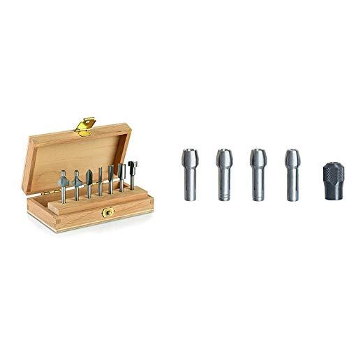 Dremel 660 Fräser Set, 7-teiliges Mehrzweck-Fräser-Set & 4485 Spannzangen mit Spannmutter - Zubehörsatz für Multifunktionswerkzeug mit 5 Spannteilen zum Wechsel von Zubehörteilen
