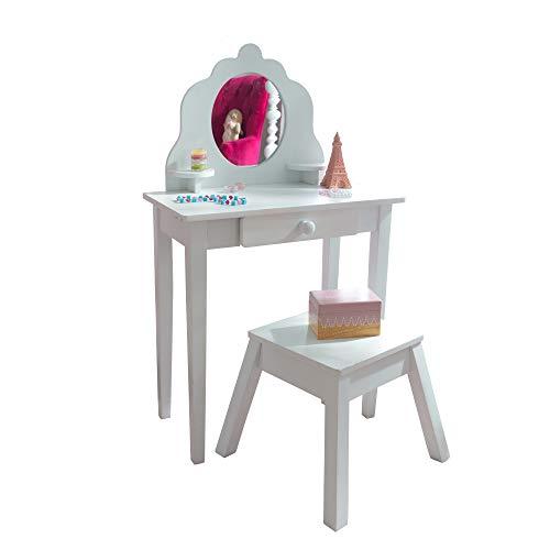 KidKraft- Juego de tocador con espejo y taburete de madera, tamaño mediano, para cuarto de juegos de niños/muebles de dormitorio , Color Blanco (13009)