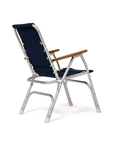 FORMA Marine Set of 2 Blue TEXTILENE Fabric High Back Deck Chairs, Boat Chairs, Folding, Anodized, Aluminium, Model M150VB